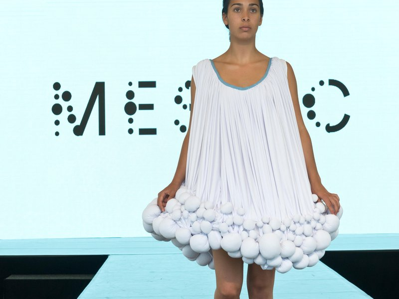 Dress from cow manure mestic fabric
