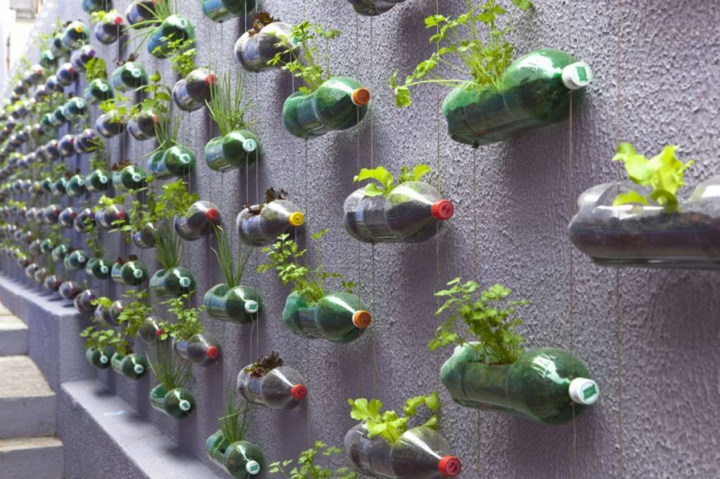 reuse plastic water bottles as Hanging Garden Pot