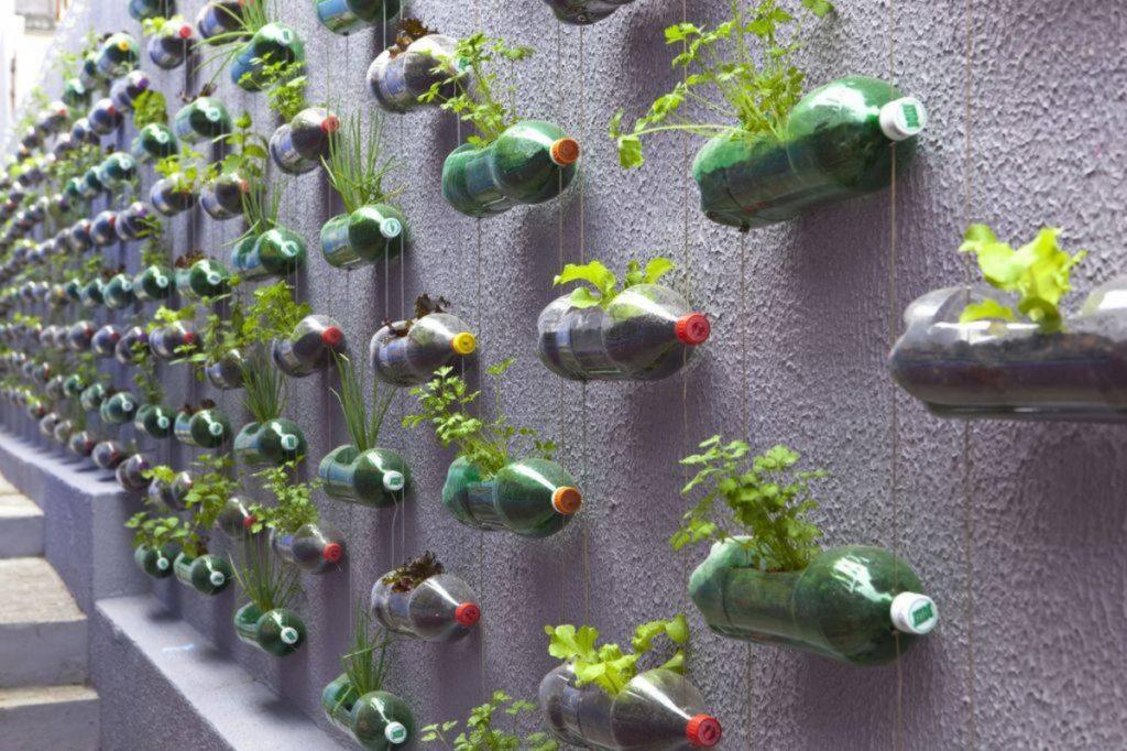 reuse plastic water bottles as Hanging Garden Pot