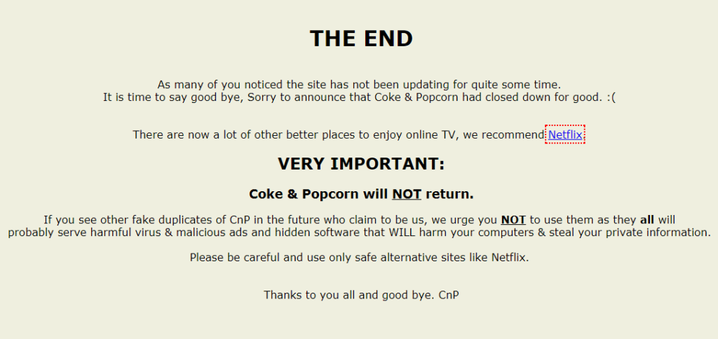 Alternatives of Coke and Popcorn websites