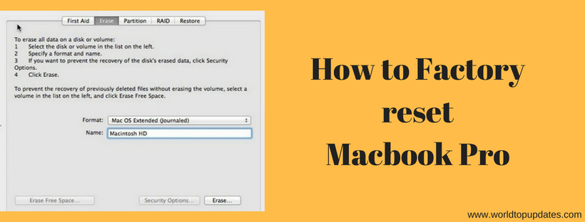 How to Factory reset MacBook pro