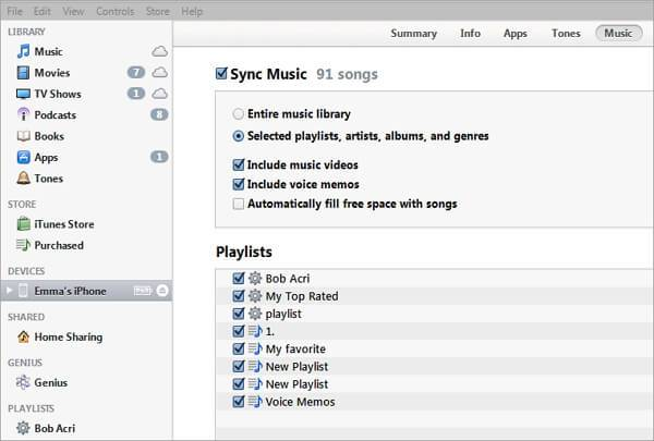 How to copy or sync a Playlist from iTunes to iPhone