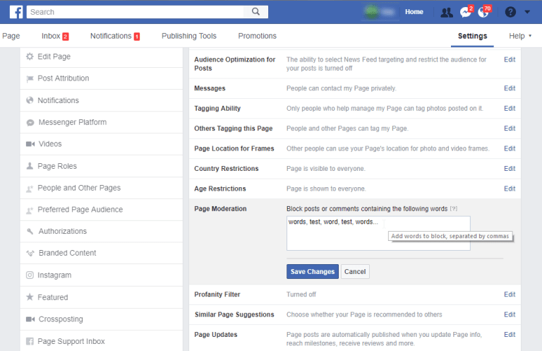 disable comments on facebook page