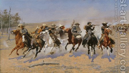 A Dash for the Timber by Frederic Remington - Reproduction Oil Painting